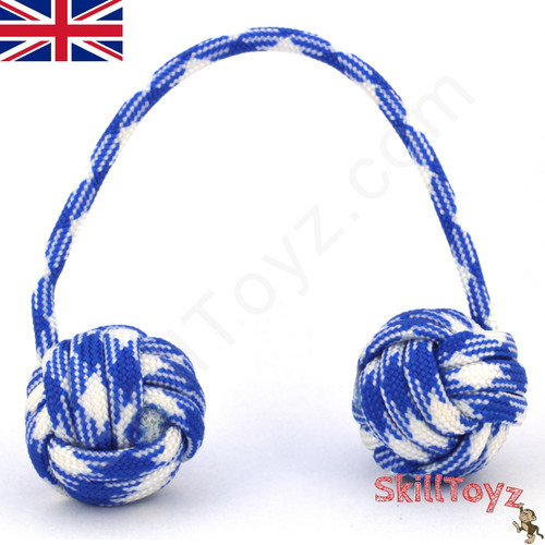 Monkey Fist Paracord Begleri 5 Inch Blue and White Edition For sale at skilltoyz.com