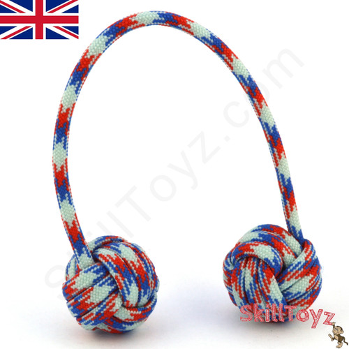 Monkey Fist Paracord Begleri 6 Inch Red White and Blue Edition For sale at Skilltoyz.com