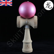 Dragon Wooden Kendama Toy with a shiny Metallic 'Candy Pink' paint finish on the tama (ball)