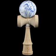 Dragon Wooden Traditional Kendama with a 'Wild Blue Flower' pattern ball