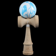 Dragon Kendama wooden skill game with a 'Blue Scrawl' pattern on the ball