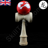 Dragon Wooden Kendama toy featuring a Face - Red. Face design varies.