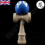 Dragon Wooden Kendama toy featuring a Face - Blue