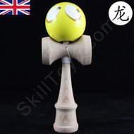 Dragon Wooden Kendama toy featuring a Face - Yellow