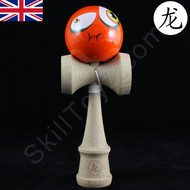 Dragon Wooden Kendama toy featuring a Face - Orange