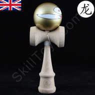 Dragon Wooden Kendama toy featuring a Face - Gold