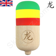 Dragon Kendama Pill Toy with Rubber Paint Rasta Edition