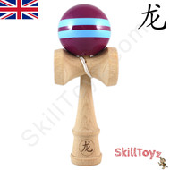 Dragon wood full sized Kendama Purple with Two Blue Stripes