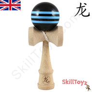 Dragon wooden Kendama Black with Three Blue Stripes
