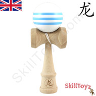 Dragon wooden kendama White with Three Blue Stripes