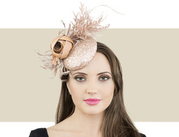 Jane Taylor London Annie nude fascinator hat for winter