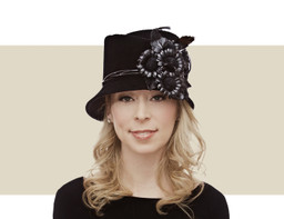 Philip Treacy Concertina Topper black winter hat