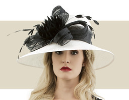 DOWNTURN DERBY HAT - White with Black