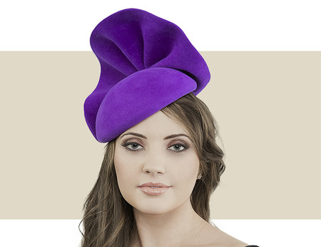 Gina Foster Imperial purple fur felt beret for winter