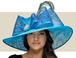 KENTUCKY DERBY HAT - Turquoise with Jade