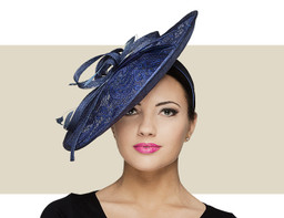 LACE FASCINATOR HAT - Navy