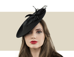 Jane Taylor London Lilia black felt disc hat for winter