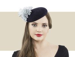 Jane Taylor London Ozella navy blue and silver cocktail hat for winter
