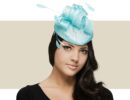 PILLBOX FASCINATOR HAT - Aqua
