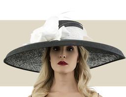 WENDELLA DERBY HAT - Black with White