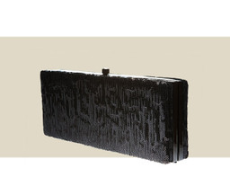 LARGE BOX CLUTCH - Black Sequin