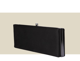 LARGE BOX CLUTCH - Black Satin