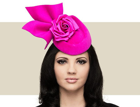 Philip Treacy pink pointed pillbox hat with velour bow and rose detail