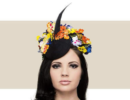 Philip Treacy mini black and orange beano hat with flower and feather detail