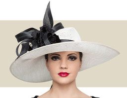 SWEEPING SIDEBRIM HAT - Ivory with Black