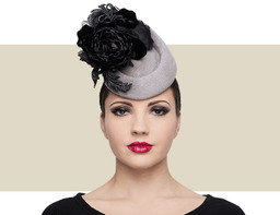Philip Treacy rosette slate grey and black pillbox hat