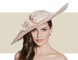 LACE AND AUSTRIAN CRYSTAL HAT - Soft Gold