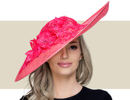 LACE AND AUSTRIAN CRYSTAL HAT - Raspberry