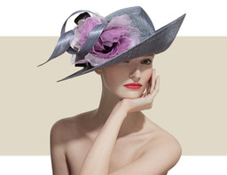 GENTLE UPSWEEP HAT - Silver with Purple