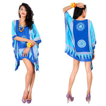 Abstract Tiki Tunic Poncho Cover-Up with V-Neck in Turquoise/Blues