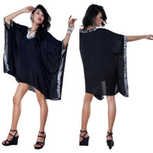 Color Tunic Poncho Cover-Up in Black and Feline