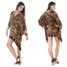 Black and Gold Abstract Print V-Neck Tunic Poncho Coverup