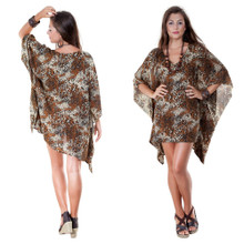 V-Neck Feline Animal Print Tunic Poncho Coverup