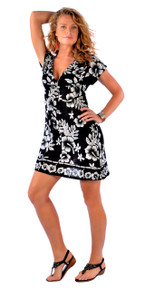 Deep V-Neck Hibiscus Black and White Coverup Tunic Short Dress
