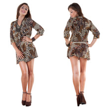 V-Neck w/ Three-Quarter Sleeves Animal Print Tunic Coverup