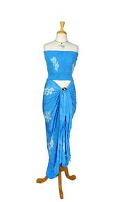 Blue Hibiscus Hawaiian Aloha Sarong / Pareo Set (Batik)