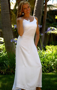 White Embroidered, Sequined Long Dress