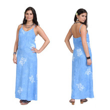 Blue Hibiscus Hawaiian Style Long Dress