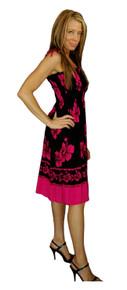 Sundress/Tube Dress Hibiscus Design Black/Pink
