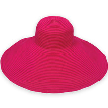 Ribbon Beach Hat in Fuchsia