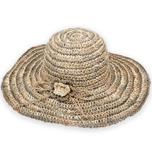 Seagrass Style Beach Hat - Crocheted w/ Floral Trim