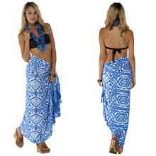 Abstract Pattern Tribal Sarong in Light Blue