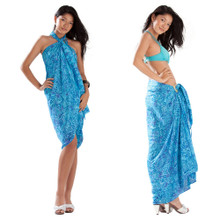 Abstract Leaf Pattern Sarong in Turquoise