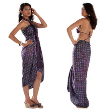 Abstract Star Pattern Sarong in Dark Purple
