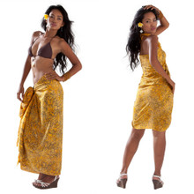 Abstract Filigree Pattern Sarong in Yellow
