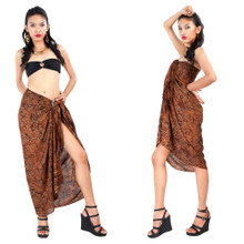 Abstract Spiral Circle Design Sarong in Brown
